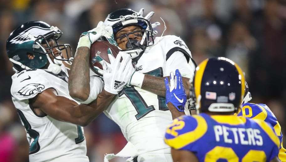 LOS ANGELES, CA - DECEMBER 16: Wide receiver Alshon Jeffery #17 of the Philadelphia Eagles makes a catch for a first down in the third quarter at Los Angeles Memorial Coliseum on December 16, 2018 in Los Angeles, California. (Photo by Sean M. Haffey/Getty Images)