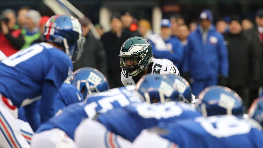 EAST RUTHERFORD, NJ - DECEMBER 17: Safety Malcolm Jenkins #27 of the Philadelphia Eagles in action against the New York Giants during the game at MetLife Stadium on December 17, 2017 in East Rutherford, New Jersey. (Photo by Al Pereira/Getty Images)