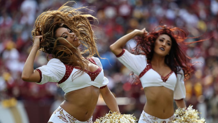LANDOVER, MD - SEPTEMBER 10: Washington Redskins cheerleaders perform against the Philadelphia Eagles at FedExField on September 10, 2017 in Landover, Maryland.  (Photo by Rob Carr/Getty Images)