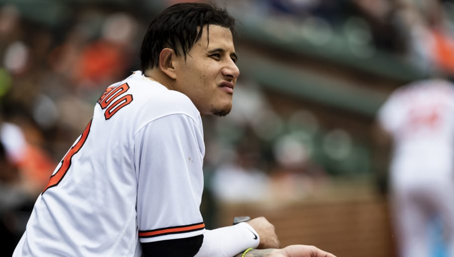 BALTIMORE, MD - MAY 16: Manny Machado #13 of the Baltimore Orioles looks on during the eighth inning against the Philadelphia Phillies at Oriole Park at Camden Yards on May 16, 2018 in Baltimore, Maryland. (Photo by Scott Taetsch/Getty Images)