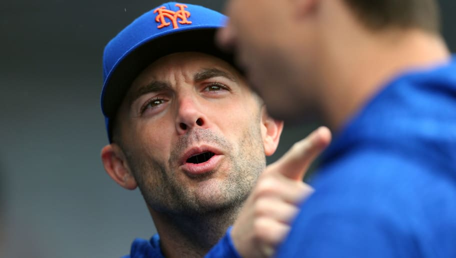 NEW YORK, NY - SEPTEMBER 09: David Wright #5 of the New York Mets talks with Jacob deGrom #48 during a game against the Philadelphia Phillies at Citi Field on September 9, 2018 in the Flushing neighborhood of the Queens borough of New York City. (Photo by Rich Schultz/Getty Images)
