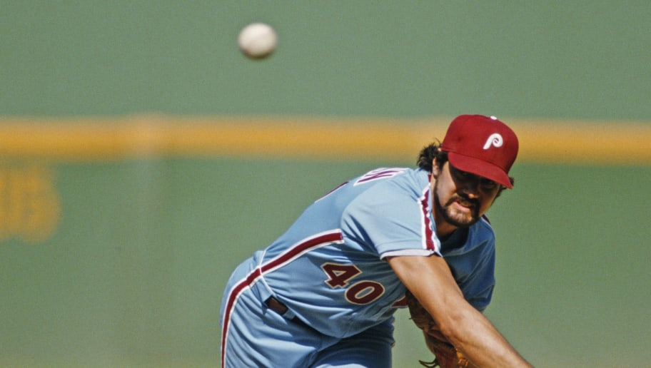 Steve Bedrosian, pitcher for the Philadelphia Phillies during the Major League Baseball National League West game against the San Diego Padres on 23 August 1986 at Jack Murphy Stadium, San Diego, California, United States. The San Diego Padres won the game 4 - 3.  (Photo by Stephen Dunn/Allsport/Getty Images)