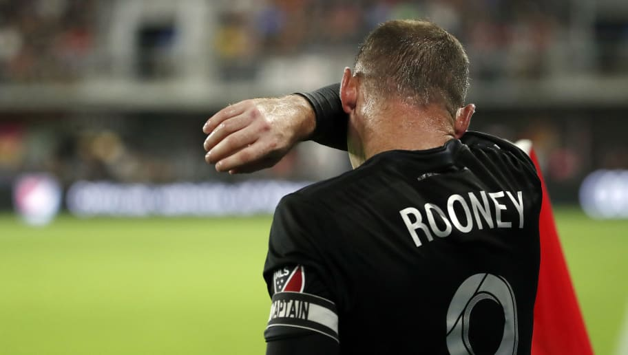 WASHINGTON, DC - AUGUST 29: Wayne Rooney #9 of D.C. United prepares to take a corner kick against the Philadelphia Union in the first half at Audi Field on August 29, 2018 in Washington, DC. (Photo by Patrick McDermott/Getty Images)