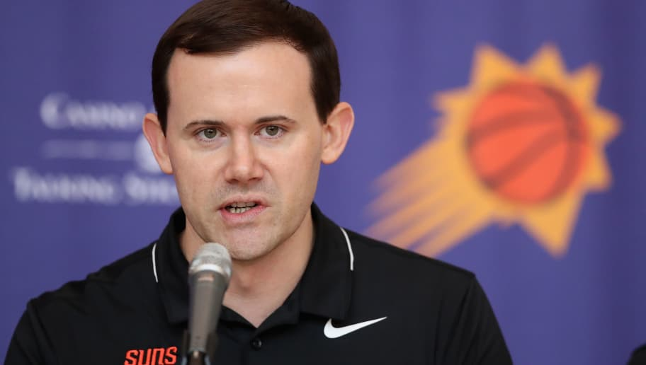 PHOENIX, AZ - JUNE 22:  General Manager Ryan McDonough of the Phoenix Suns speaks during a press conference at Talking Stick Resort Arena on June 22, 2018 in Phoenix, Arizona.  NOTE TO USER: User expressly acknowledges and agrees that, by downloading and or using this photograph, User is consenting to the terms and conditions of the Getty Images License Agreement.  (Photo by Christian Petersen/Getty Images)