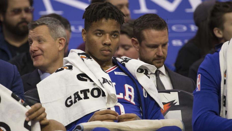 PHILADELPHIA, PA - NOVEMBER 19: Markelle Fultz #20 of the Philadelphia 76ers watches the game from the bench in the second quarter against the Phoenix Suns at the Wells Fargo Center on November 19, 2018 in Philadelphia, Pennsylvania. The 76ers defeated the Suns 119-114. NOTE TO USER: User expressly acknowledges and agrees that, by downloading and or using this photograph, User is consenting to the terms and conditions of the Getty Images License Agreement. (Photo by Mitchell Leff/Getty Images)