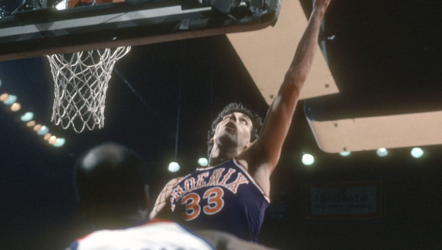 LANDOVER, MD - CIRCA 1985:  Alvan Adams #33 of the Phoenix Suns shoots against  the Washington Bullets during an NBA basketball game circa 1985 at the Capital Centre in Landover, Maryland. Adams played for the Suns from 1975-88. (Photo by Focus on Sport/Getty Images)