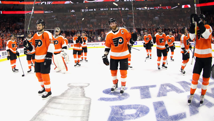 PHILADELPHIA, PA - APRIL 22:  The Philadelphia Flyers leave the ice following a 8-5 loss to the Pittsburgh Penguins in Game Six of the Eastern Conference First Round during the 2018 NHL Stanley Cup Playoffs at the Wells Fargo Center on April 22, 2018 in Philadelphia, Pennsylvania.  (Photo by Bruce Bennett/Getty Images)