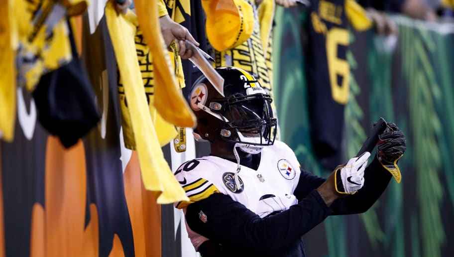 CINCINNATI, OH - DECEMBER 04:  Le'Veon Bell #26 of the Pittsburgh Steelers takes a photo with fans prior to the game against the Cincinnati Bengals  at Paul Brown Stadium on December 4, 2017 in Cincinnati, Ohio.  (Photo by Andy Lyons/Getty Images)