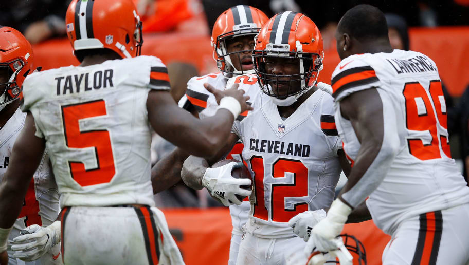 CLEVELAND, OH - SEPTEMBER 09:  Josh Gordon #12 celebrates his touchdown with Tyrod Taylor #5 and Devaroe Lawrence #99 of the Cleveland Browns during the fourth quarter against the Pittsburgh Steelers at FirstEnergy Stadium on September 9, 2018 in Cleveland, Ohio. (Photo by Joe Robbins/Getty Images)