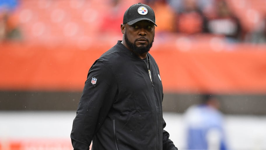 CLEVELAND, OH - SEPTEMBER 09:  Head coach Mike Tomlin of the Pittsburgh Steelers looks on during warmups prior to the game against the Cleveland Browns at FirstEnergy Stadium on September 9, 2018 in Cleveland, Ohio. (Photo by Jason Miller/Getty Images)