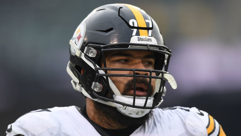 OAKLAND, CA - DECEMBER 09:  Cameron Heyward #97 of the Pittsburgh Steelers looks on during pregame warm ups prior to the start of an NFL football game against the Oakland Raiders at Oakland-Alameda County Coliseum on December 9, 2018 in Oakland, California.  (Photo by Thearon W. Henderson/Getty Images)