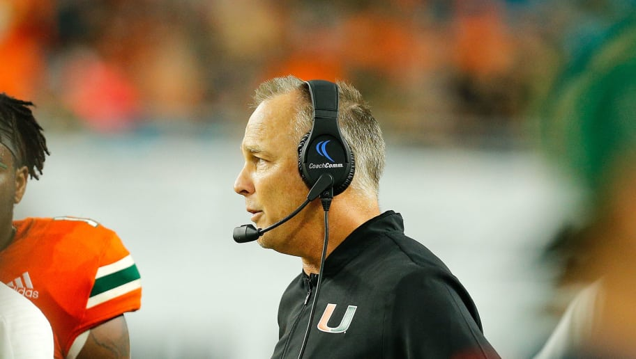 MIAMI GARDENS, FL - NOVEMBER 24:  Head coach Mark Richt of the Miami Hurricanes looks on against the Pittsburgh Panthers at Hard Rock Stadium on November 24, 2018 in Miami Gardens, Florida.  (Photo by Michael Reaves/Getty Images)