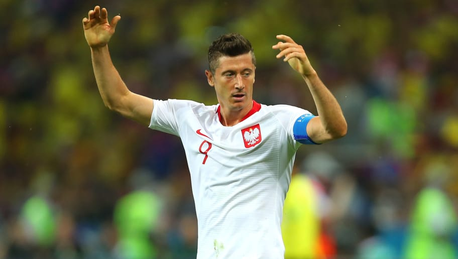 KAZAN, RUSSIA - JUNE 24:   Robert Lewandowski of Poland reacts during the 2018 FIFA World Cup Russia group H match between Poland and Colombia at Kazan Arena on June 24, 2018 in Kazan, Russia. (Photo by Robbie Jay Barratt - AMA/Getty Images)