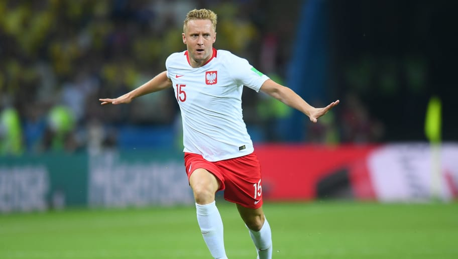KAZAN, RUSSIA - JUNE 24: Kamil Glik of Poland reacts during the 2018 FIFA World Cup Russia group H match between Poland and Colombia at Kazan Arena on June 24, 2018 in Kazan, Russia. (Photo by Lukasz Laskowski/PressFocus/MB Media/Getty Images)