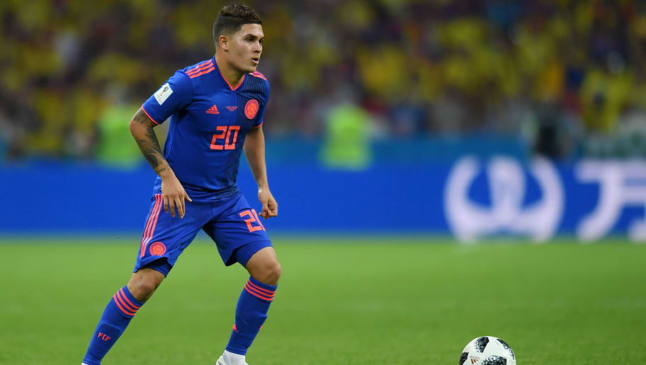 KAZAN, RUSSIA - JUNE 24: Juan Quintero of Colombia in action during the 2018 FIFA World Cup Russia group H match between Poland and Colombia at Kazan Arena on June 24, 2018 in Kazan, Russia. (Photo by Lukasz Laskowski/PressFocus/MB Media/Getty Images)