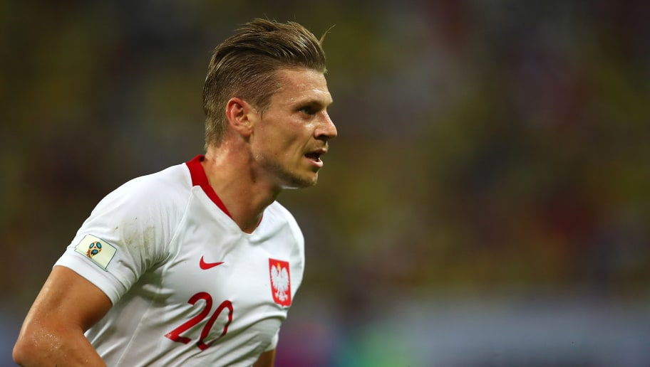 KAZAN, RUSSIA - JUNE 24:   Lukasz Piszczek of Poland n action during the 2018 FIFA World Cup Russia group H match between Poland and Colombia at Kazan Arena on June 24, 2018 in Kazan, Russia. (Photo by Robbie Jay Barratt - AMA/Getty Images)