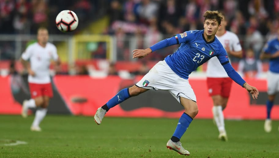 CHORZOW, POLAND - OCTOBER 14:  Nicolò Barella of Italy in action during the UEFA Nations League A group three match between Poland and Italy at Silesian Stadium on October 14, 2018 in Chorzow, Poland.  (Photo by Claudio Villa/Getty Images)