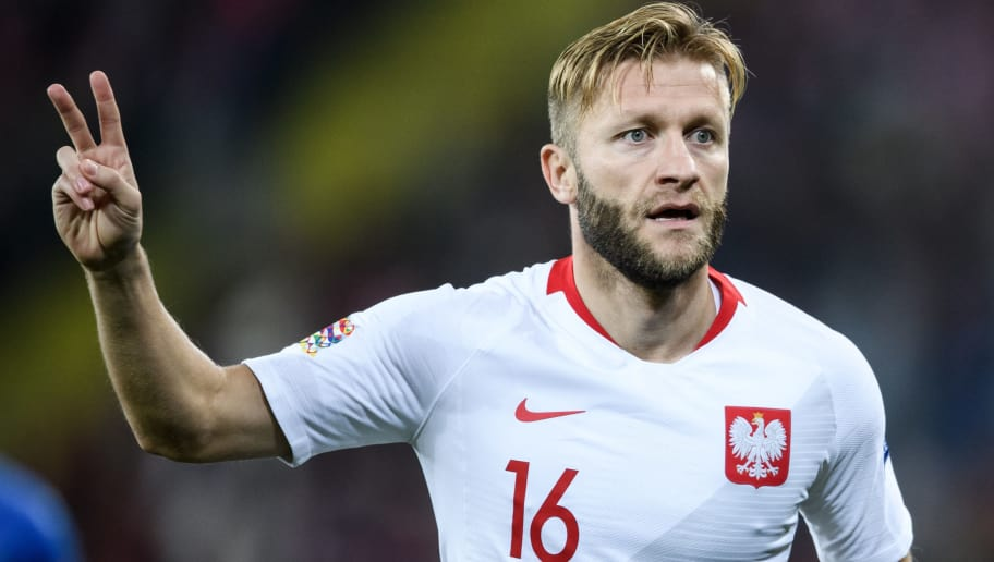CHORZOW, POLAND - OCTOBER 14: Jakub Blaszczykowski of Poland reacts during the UEFA Nations League A group three match between Poland and Italy at Silesian Stadium on October 14, 2018 in Chorzow, Poland. (Photo by Rafal Oleksiewicz/PressFocus/MB Media/Getty Images)