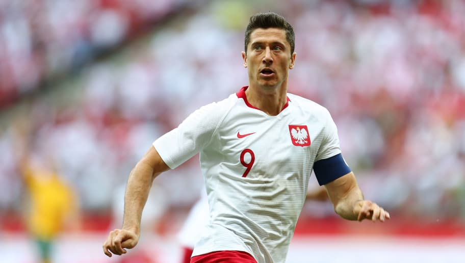 WARSAW, POLAND - JUNE 12: Robert Lewandowski of Poland looks on during International Friendly match between Poland and Lithuania on June 12, 2018 in Warsaw, Poland. (Photo by Piotr Matusewicz/PressFocus/MB Media/Getty Images)