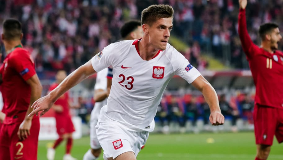 CHORZOW,  - OCTOBER 11: Krzysztof Piatek of Poland, celebrate his goal the 1-0 during the  UEFA Nations league match between Poland  v Portugal  at the Slaski Stadium on October 11, 2018 in Chorzow  (Photo by Erwin Spek/Soccrates/Getty Images)