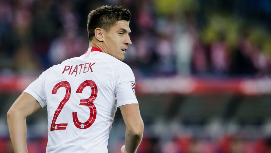CHORZOW,  - OCTOBER 11: Krzysztof Piatek of Poland during the  UEFA Nations league match between Poland  v Portugal  at the Slaski Stadium on October 11, 2018 in Chorzow  (Photo by Erwin Spek/Soccrates/Getty Images)