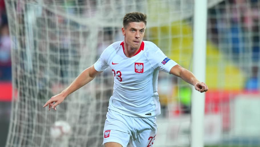 CHORZOW, POLAND - OCTOBER 11: Krzysztof Piatek celebrates after scoring a goal during the UEFA Nations League A group three match between Poland and Portugal at Silesian Stadium on October 11, 2018 in Chorzow, Poland. (Photo by Pawel Andrachiewicz/PressFocus/MB Media/Getty Images)