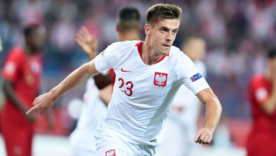 CHORZOW, POLAND - OCTOBER 11: Krzysztof Piatek of Poland celebrates after scoring a goal during the UEFA Nations League A group three match between Poland and Portugal at Silesian Stadium on October 11, 2018 in Chorzow, Poland. (Photo by Lukasz Sobala/PressFocus/MB Media/Getty Images)