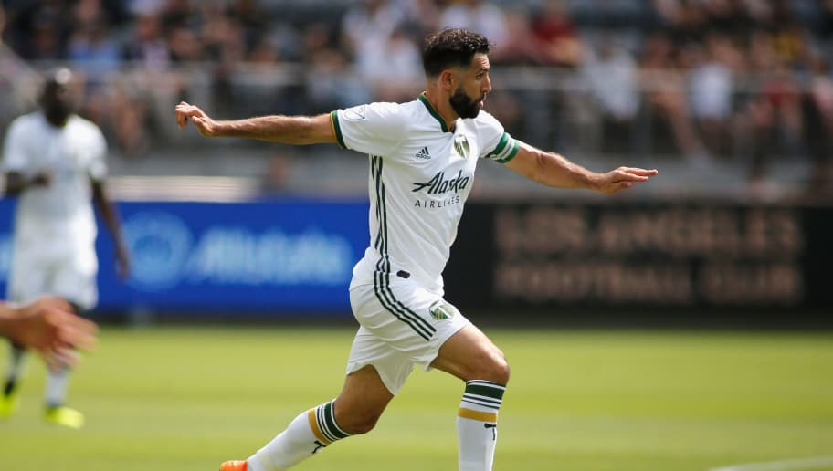 LOS ANGELES, CA - JULY 15:  Diego Valeri #8 of the Los Angeles Football Club dribbles down the field at Banc of California Stadium on July 15, 2018 in Los Angeles, California.  (Photo by Katharine Lotze/Getty Images)