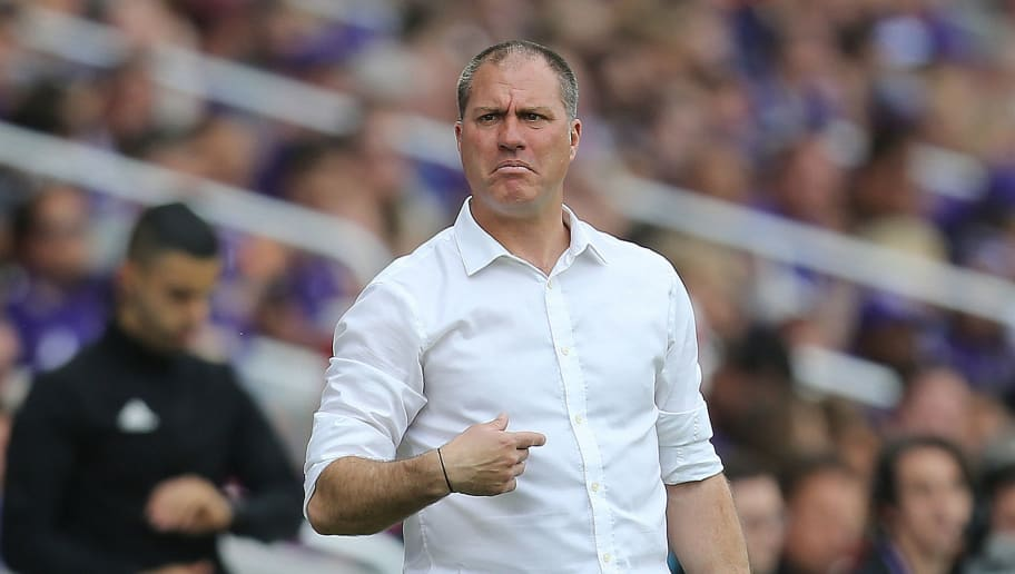 ORLANDO, FL - APRIL 08:  Portland head coach Giovanni Savarese is seen during an MLS soccer match against the Orlando City SC at Orlando City Stadium on April 8, 2018 in Orlando, Florida. (Photo by Alex Menendez/Getty Images)