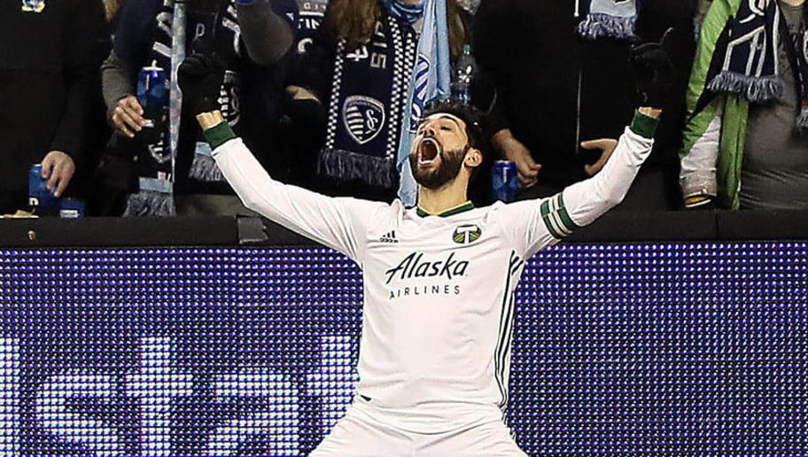 KANSAS CITY, KANSAS - NOVEMBER 29:   Diego Valeri #8 of Portland Timbers celebrates after scoring during leg 2 pf the Conference Championship against the Sporting Kansas City at Children's Mercy Park on November 29, 2018 in Kansas City, Kansas. (Photo by Jamie Squire/Getty Images)