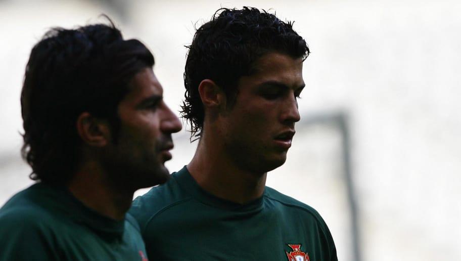 Portugal's Cristiano Ronaldo (R) and Lui