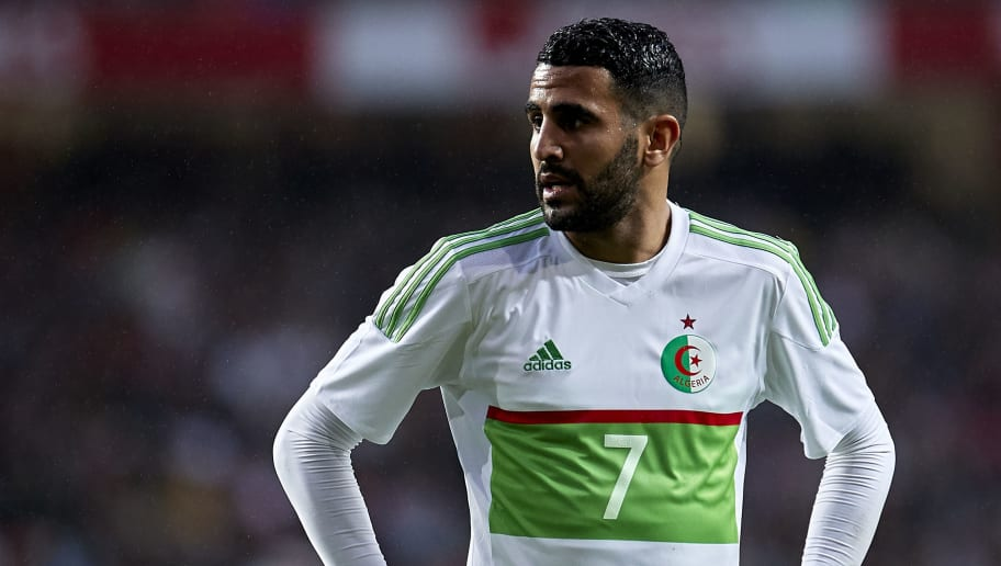 LISBOA, PORTUGAL - JUNE 07:  Riyad Mahrez of Algeria looks on during the friendly match of preparation for FIFA 2018 World Cup between Portugal and Algeria at the Estadio do Sport Lisboa e Benfica on June 7, 2018 in Lisboa, Portugal.  (Photo by Quality Sport Images/Getty Images)
