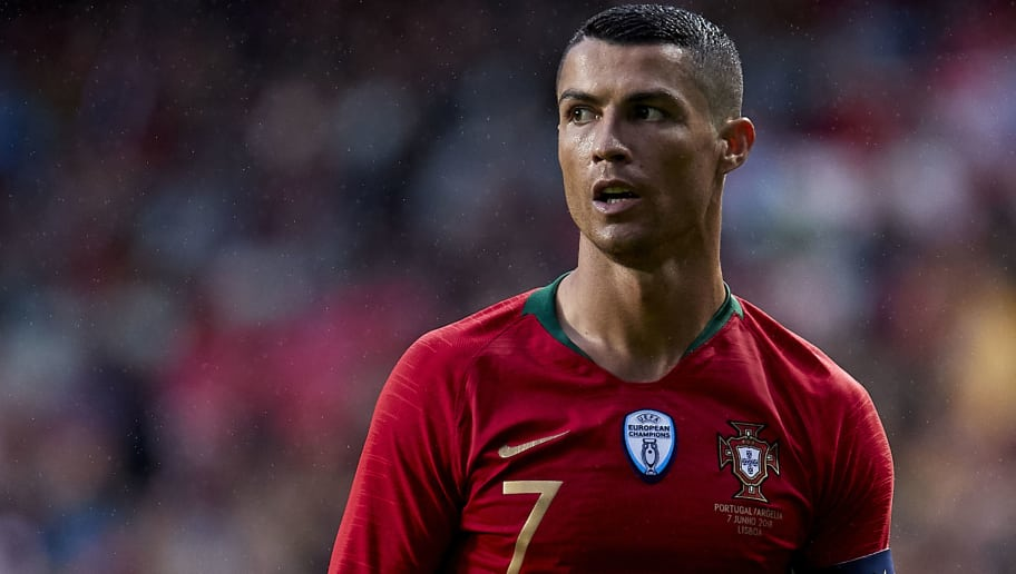 LISBOA, PORTUGAL - JUNE 07:  Cristiano Ronaldo of Portugal looks on during the friendly match of preparation for FIFA 2018 World Cup between Portugal and Algeria at the Estadio do Sport Lisboa e Benfica on June 7, 2018 in Lisboa, Portugal.  (Photo by Quality Sport Images/Getty Images)