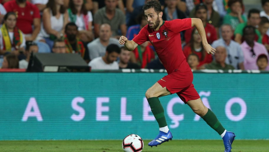 FARO, PORTUGAL - September 6:  Bernardo Silva of Portugal and Manchester City in action during the International Friendly match between Portugal and Croatia at Estadio Algarve on September 6, 2018 in Faro, Portugal.  (Photo by Gualter Fatia/Getty Images)