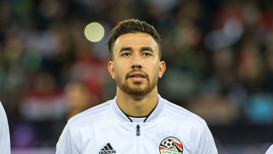 ZURICH, SWITZERLAND - MARCH 23: #21 Trezeguet of Egypt looks on during the International Friendly between Portugal and Egypt at the Letzigrund Stadium on March 23, 2018 in Zurich, Switzerland. (Photo by Robert Hradil/Getty Images)