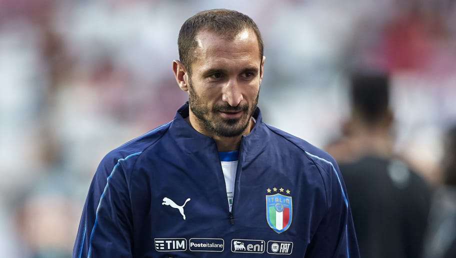 LISBON, PORTUGAL - SEPTEMBER 10:  Giorgio Chiellini of Italy looks on prior to the UEFA Nations League A group three match between Portugal and Italy at Estadio do Sport Lisboa a Benfica on September 10, 2018 in Lisbon, Portugal.  (Photo by Quality Sport Images/Getty Images)