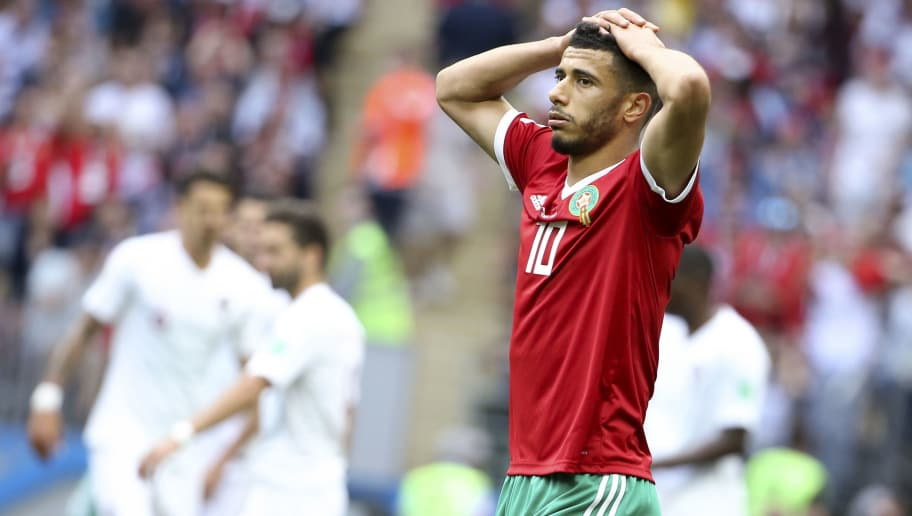 MOSCOW, RUSSIA - JUNE 20: Younes Belhanda of Morocco reacts after missing a goal during the 2018 FIFA World Cup Russia group B match between Portugal and Morocco at Luzhniki Stadium on June 20, 2018 in Moscow, Russia. (Photo by Jean Catuffe/Getty Images)