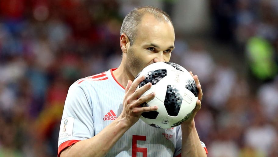 SOCHI, RUSSIA - JUNE 15:  Andres Iniesta of Spain kisses the ball during the 2018 FIFA World Cup Russia group B match between Portugal and Spain at Fisht Stadium on June 15, 2018 in Sochi, Russia.  (Photo by Maddie Meyer/Getty Images)