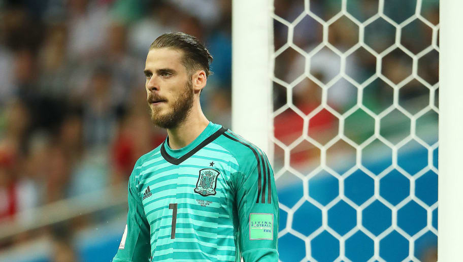 SOCHI, RUSSIA - JUNE 15:  David De Gea of Spain looks on during the 2018 FIFA World Cup Russia group B match between Portugal and Spain at Fisht Stadium on June 15, 2018 in Sochi, Russia. (Photo by Matthew Ashton - AMA/Getty Images)