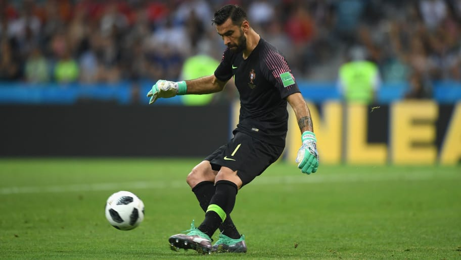 SOCHI, RUSSIA - JUNE 15:  Portugal goalkeeper Rui Patricio in action during the 2018 FIFA World Cup Russia group B match between Portugal and Spain at Fisht Stadium on June 15, 2018 in Sochi, Russia.  (Photo by Stu Forster/Getty Images)