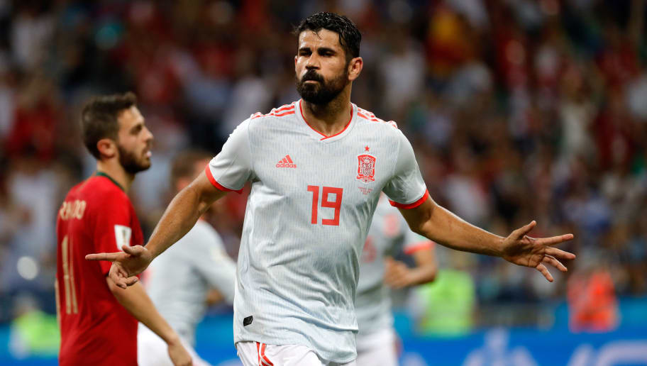 SOCHI, RUSSIA - JUNE 15: Diego Costa of Spain celebrates after scoring his team`s second goal during the 2018 FIFA World Cup Russia group B match between Portugal and Spain at Fisht Stadium on June 15, 2018 in Sochi, Russia. (Photo by TF-Images/Getty Images)