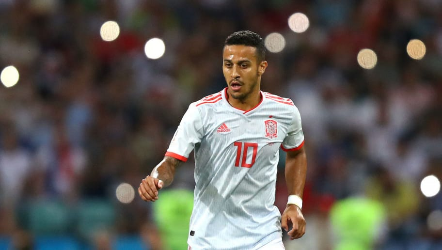 SOCHI, RUSSIA - JUNE 15:  Thiago of Spain runs with the ball during the 2018 FIFA World Cup Russia group B match between Portugal and Spain at Fisht Stadium on June 15, 2018 in Sochi, Russia.  (Photo by Dean Mouhtaropoulos/Getty Images)