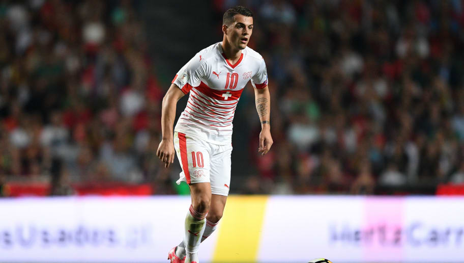 LISBON, PORTUGAL - OCTOBER 10: Granit Xhaka of Switzerland in action during the FIFA 2018 World Cup Qualifier between Portugal and Switzerland at the Luz Stadium on October 10, 2017 in Lisbon, Lisboa. (Photo by Octavio Passos/Getty Images)