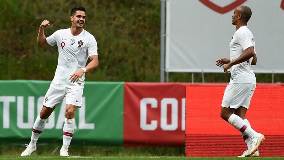 BRAGA, PORTUGAL - MAY 28: Andre Silva of Portugal celebrates after scoring the first goal during the international friendly football match against Portugal and Tunisia at the Municipal stadium de Braga on May 28, 2018 in Braga, Portugal. (Photo by Octavio Passos/Getty Images)