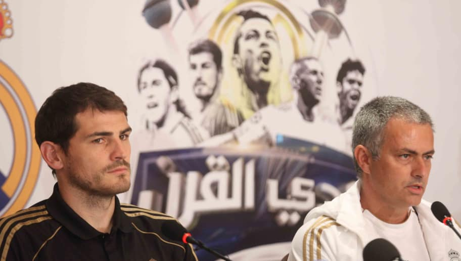 Portuguese manager of the Real Madrid football team, Jose Mourinho (R), and Captain, Iker Casillas, attend a press conference in Kuwait City on May 15, 2012. Real Madrid are to play a friendly match against Kuwait's national football team on May 16, at al-Kuwait SC stadium in Kuwait City. AFP PHOTO / YASSER AL-ZAYYAT        (Photo credit should read YASSER AL-ZAYYAT/AFP/GettyImages)