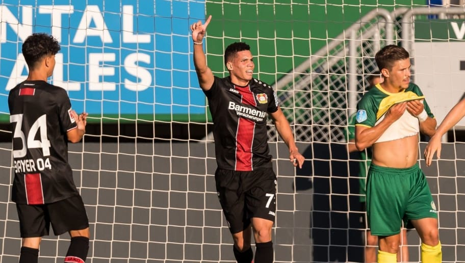 Paulo Henrique Sampaio Filho ( Paulinho ) of Bayer 04 Leverkusen celebrate a goal but it was cancelled during the Pre-season Friendly match between Fortuna Sittard and Bayer Leverkusen at the Fortuna Sittard Stadium on July 28, 2018 in Sittard, The Netherlands(Photo by VI Images via Getty Images)