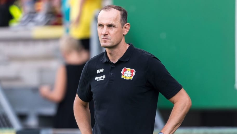 coach Heiko Herrlich of Bayer 04 Leverkusen during the Pre-season Friendly match between Fortuna Sittard and Bayer Leverkusen at the Fortuna Sittard Stadium on July 28, 2018 in Sittard, The Netherlands(Photo by VI Images via Getty Images)