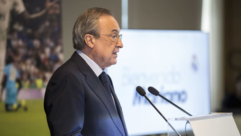 MADRID, SPAIN - AUGUST 31: Florentino Perez President of Real Madrid during the   Presentation Mariano Diaz of Real Madrid at the Santiago Bernabeu on August 31, 2018 in Madrid Spain (Photo by David S. Bustamante/Soccrates/Getty Images)