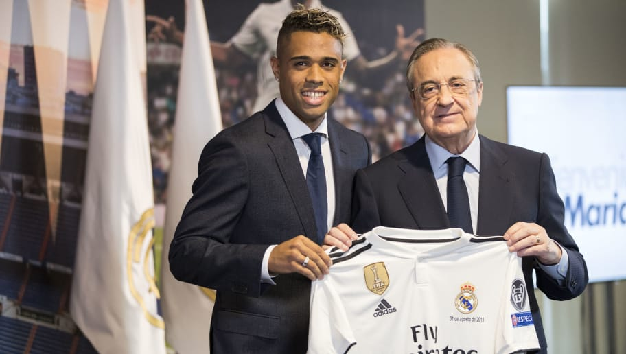 MADRID, SPAIN - AUGUST 31: Mariano Diaz Mejia of Real Madrid CF, Florentino Perez President of Real Madrid during the   Presentation Mariano Diaz of Real Madrid at the Santiago Bernabeu on August 31, 2018 in Madrid Spain (Photo by David S. Bustamante/Soccrates/Getty Images)