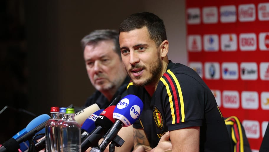 20180326 - Tubize , Belgium. Eden HAZARD pictured during a press conference of the Belgian national soccer team Red Devils, at the Belgian national football center, ahead of the international friendly game against Saudi Arabia. Picture by Vincent Van Doornick / Isosport'n
